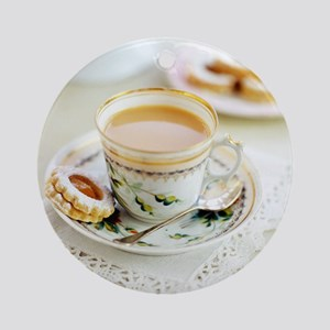 Tea and biscuits - Round Ornament