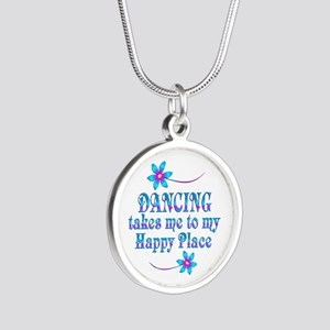 Dancing My Happy Place Silver Round Necklace
