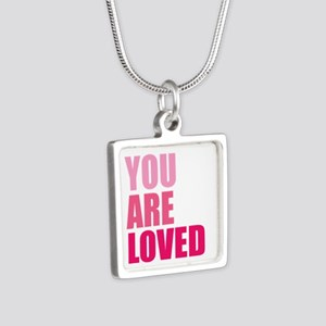 You Are Loved Silver Square Necklace