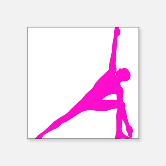 "Bikram Yoga Triangle Pose Square Sticker 3"" x 3"""