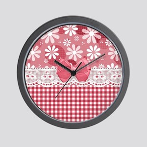 Pretty Pink Gingham Daisies Wall Clock