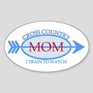 Cross Country Mom Train to Watch Sticker (Oval)