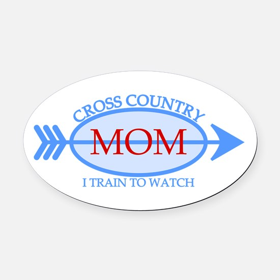 Cross Country Mom Train to Watch Oval Car Magnet