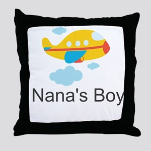 Nanas Boy Yellow Airplane Throw Pillow