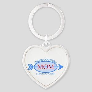 Cross Country Mom Train to Watch Heart Keychain