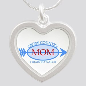 Cross Country Mom Train to Watch Silver Heart Neck
