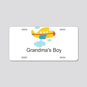 Grandmas Boy Yellow Airplane Aluminum License Plat