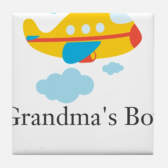 Grandmas Boy Yellow Airplane Tile Coaster