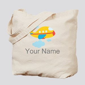 Personalized Yellow Airplane Tote Bag