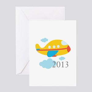 2013 First Yellow Airplane Greeting Card