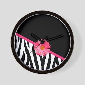 Zebra Pattern Pink Daisy Wall Clock
