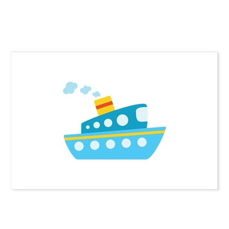Blue Red and Yellow Tug Boat Postcards (Package of