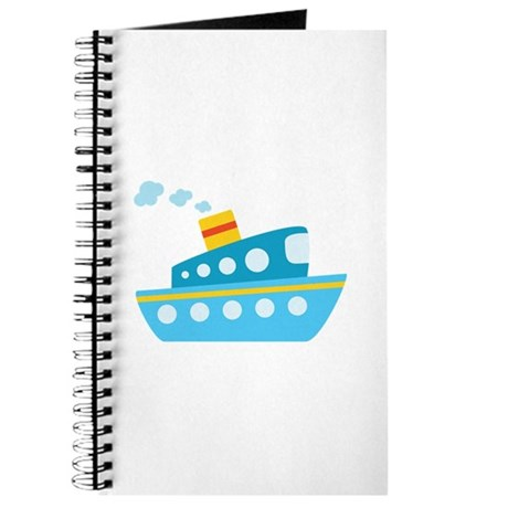 Blue Red and Yellow Tug Boat Journal