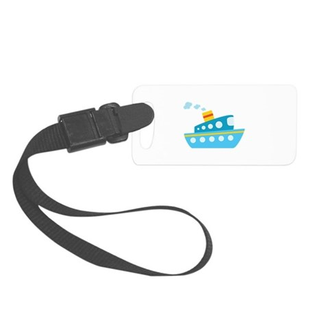 Blue Red and Yellow Tug Boat Small Luggage Tag