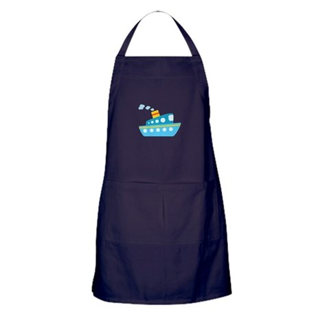 Blue Red and Yellow Tug Boat Apron (dark)