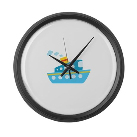 Blue Red and Yellow Tug Boat Large Wall Clock