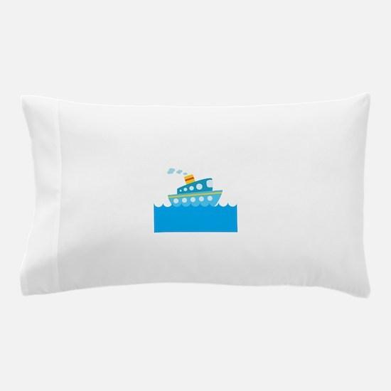 Boat in Blue Water Pillow Case