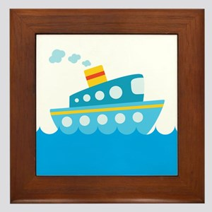 Boat in Blue Water Framed Tile