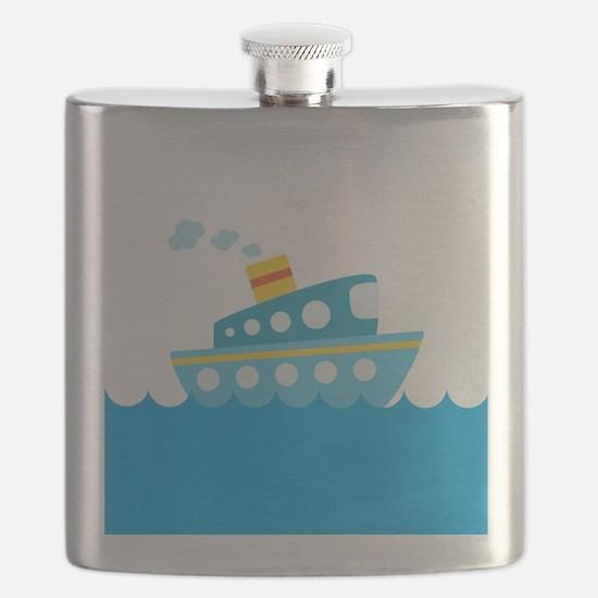 Boat in Blue Water Flask