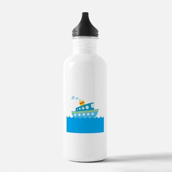 Boat in Blue Water Water Bottle