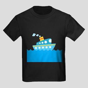 Boat in Blue Water Kids Dark T-Shirt