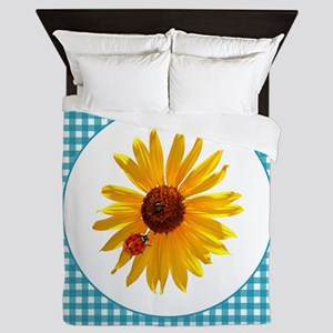 Summer Sunflower Gingham Queen Duvet