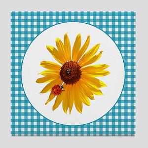 Summer Sunflower Gingham Tile Coaster