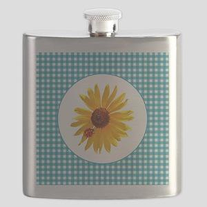 Summer Sunflower Gingham Flask