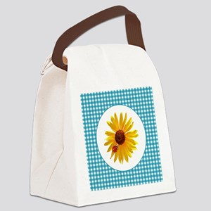 Summer Sunflower Gingham Canvas Lunch Bag