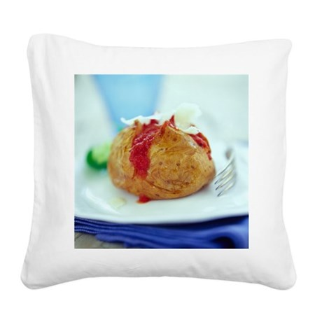 Filled jacket potato - Square Canvas Pillow