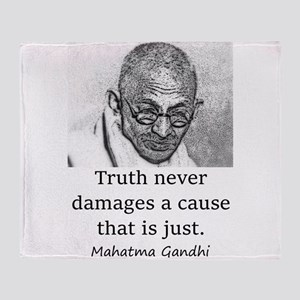 Truth Never Damages - Mahatma Gandhi Throw Blanket