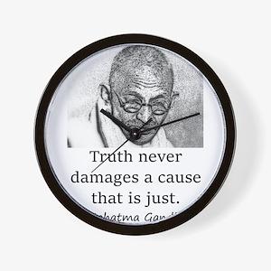Truth Never Damages - Mahatma Gandhi Wall Clock