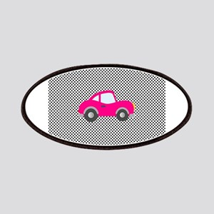 Pink Car on Black and White Dots Patches