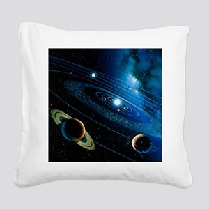 Artwork of the solar system - Square Canvas Pillow