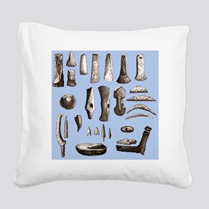 Prehistoric stone tools - Square Canvas Pillow