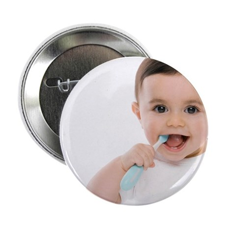 Baby boy with toothbrush - 2.25' Button (10 pack)