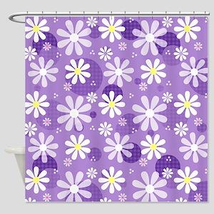 Retro Daisies Purple Gingham Circles Shower Curtai