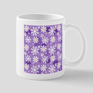 Retro Daisies Purple Gingham Circles Mug