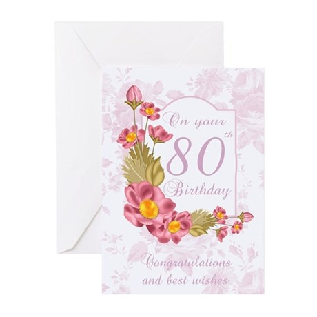 80th Birthday Greeting Card With Flowers(Pk of 20)