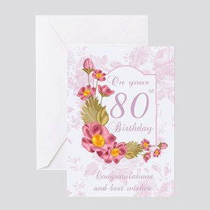 80th Birthday Greeting Card With Flowers