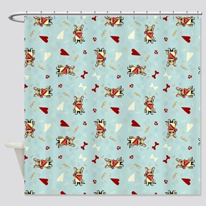 Frenchie Puppy Love Shower Curtain