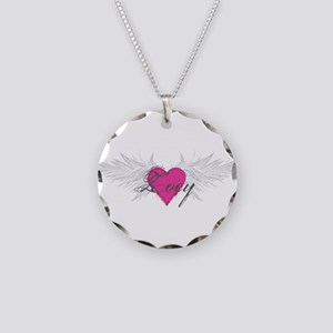 Zoey-angel-wings Necklace Circle Charm