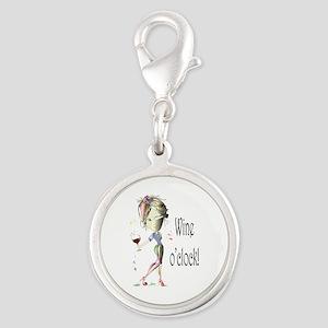 Wine oclock! Silver Round Charm
