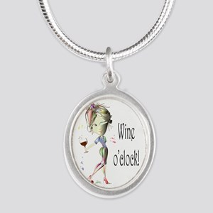 Wine oclock! Silver Oval Necklace