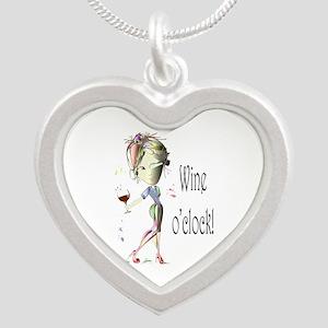 Wine oclock! Silver Heart Necklace