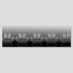 Black And White Paws With Newsprint Bumper Sticker