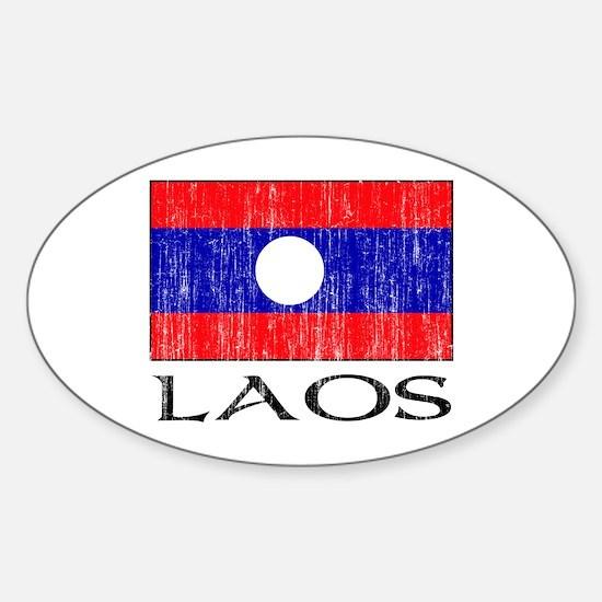 Laos Flag Oval Decal