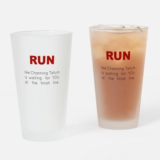 Running for Channing Tatum Drinking Glass