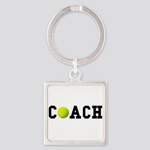 Tennis Coach Square Keychain
