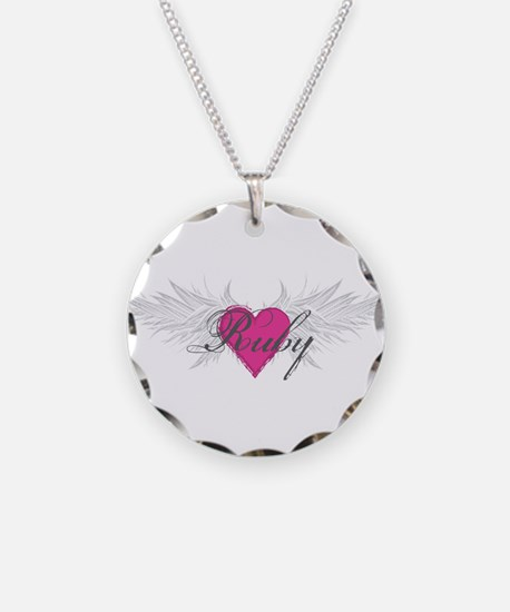 Baby name ruby necklaces baby name ruby dog tags necklace charms ruby angel wingsg necklace aloadofball Images